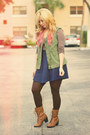 Navy-charlotte-russe-skirt-olive-green-zara-vest-tan-old-navy-top