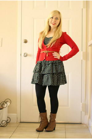 tawny boots - black dress - red Charlotte Russe cardigan
