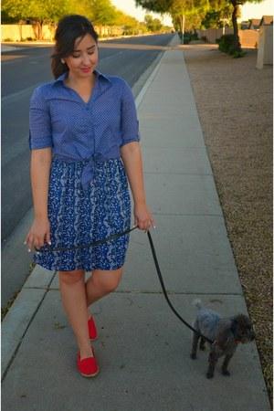 blue floral print thrifted dress - red slip on Vans shoes