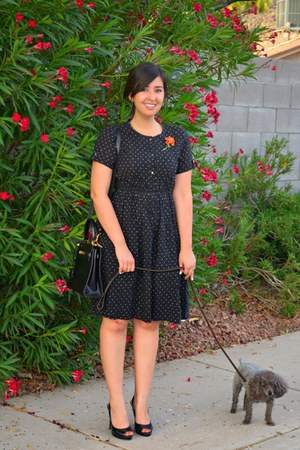black leather vintage bag - black polka dot thrifted dress