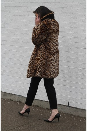 brown Forever 21 coat - black Jimmy Choo heels