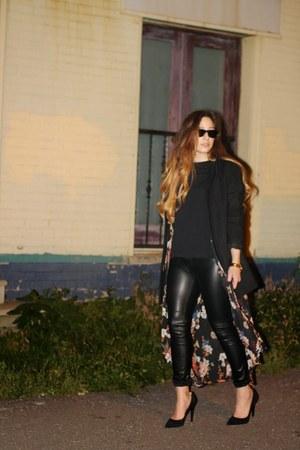 black Old Navy coat - black H&M pants - black Zara heels