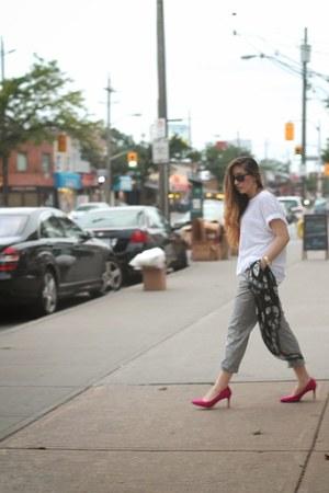 heather gray Zara pants - black Alexander McQueen scarf - hot pink Zara heels