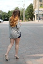 silver Zara heels - heather gray H&M sweater - navy Forever 21 shorts