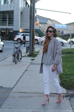 heather gray Old Navy coat - white J Brand jeans - white Forever 21 sweater