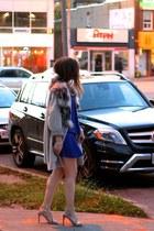blue H&M sweater - heather gray Zara sandals - blue PAROSH skirt
