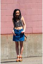 blue denim Forever 21 skirt - black crop top shirt - camel sandals wedges