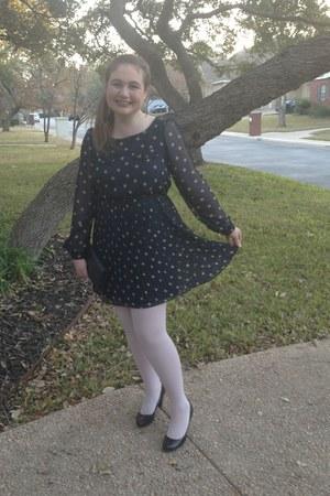 blue Target dress - periwinkle HUE tights - navy Juicy Couture bag