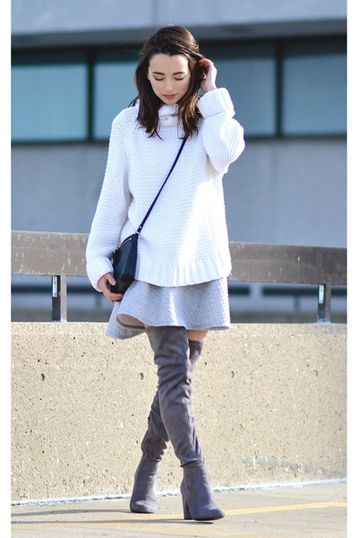 white knit liz claiborne sweater - heather gray Forever 21 boots