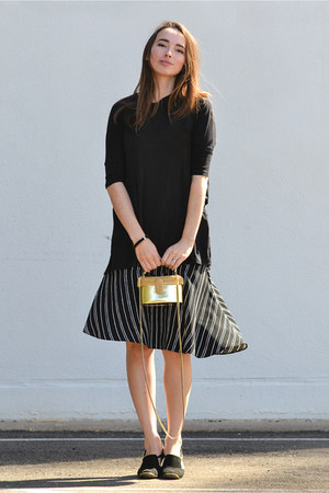 black Who What Wear skirt - gold unlabeled bag - black asos top