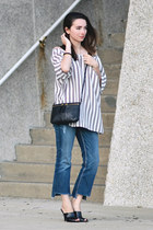 navy BKE jeans - black Fossil purse - black thrifted mules Nine West heels