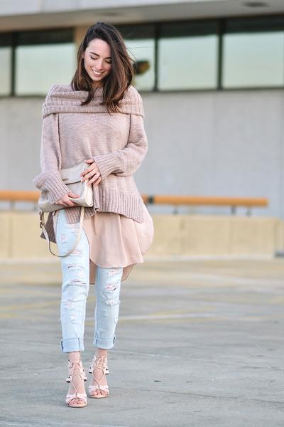 light pink thrifted H&M sweater - light blue Target jeans