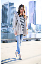neutral Country Road coat - sky blue Zara jeans