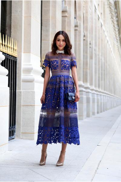 blue lace Self Portrait dress - navy patent leather Chanel bag