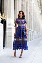 blue lace Self Portrait dress - navy patent leather Chanel bag