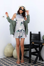 dark green floral The Closet Lover dress - off white straw saks hat
