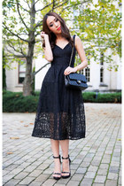 black Nicholas dress - black leather Chanel bag