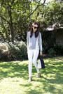 White-denim-zara-jeans-silver-knit-saba-sweater-navy-luggage-bag-celine-bag
