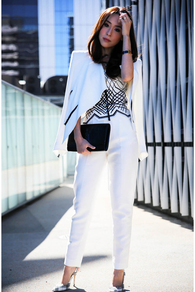 white tailored sass & bide pants - white bustier sass & bide top