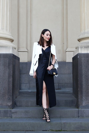 black Ginger & Smart dress - white Helmut Lang jacket - black Chanel bag