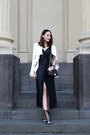 Black-ginger-smart-dress-white-helmut-lang-jacket-black-chanel-bag