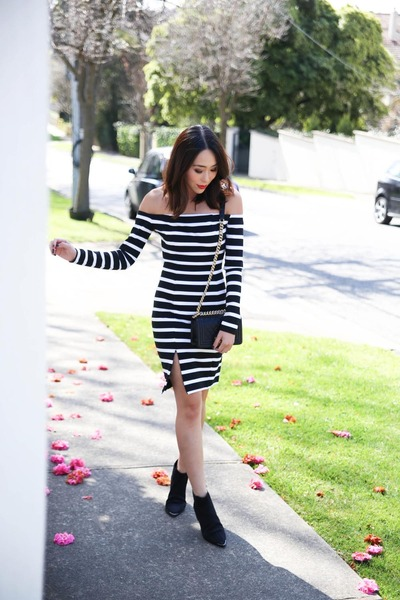 black suede acne boots - white stripes Nicholas the Label dress