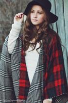 white Aeropostale sweater - black floppy hat H&M hat - ruby red Macys cape