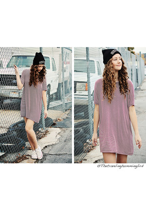 white Converse shoes - maroon brandy melville dress - black brandy melville hat
