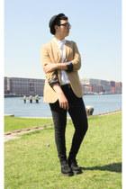 feather Primark necklace - skinny jeans Primark jeans - H&M hat - H&M blazer
