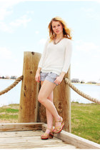 ivory Jennifer Lopez sweater - heather gray Express shorts