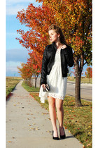 black JouJou jacket - ivory H&M dress - black Steve Madden heels
