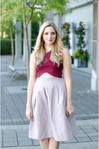 brick red crop top Aritzia top - light purple midi H&M skirt