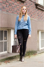 Black-ripped-american-eagle-jeans-sky-blue-chambray-rw-co-shirt