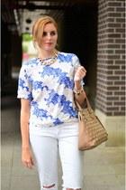 blue floral print Sheinside blouse - white boyfriend jeans American Eagle jeans
