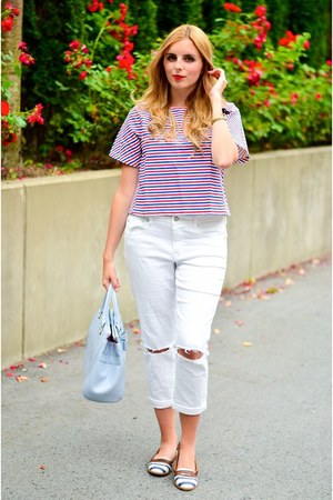 red nautical Front Row Shop top - boyfriend jeans American Eagle jeans