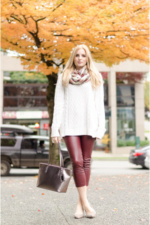 crimson burgundy Front Row Shop leggings - ivory Old Navy sweater