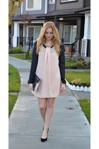 black Aldo heels - light pink Sugarlips dress - black Jacob blouse