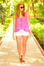 hot pink chiffon Forever 21 blouse - white denim shorts Guess shorts