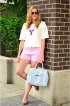 white scallop Front Row Shop top - light blue bow material girl bag