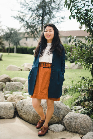 teal H&M coat - white Larmoni blouse - burnt orange thrifted skirt