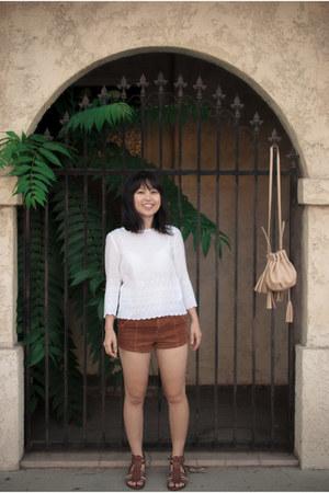 tan Ross bag - burnt orange Forever 21 shorts - white H&M top