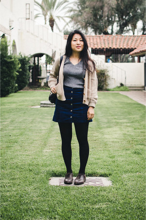 navy H&M skirt - dark brown leather oxford miz mooz shoes