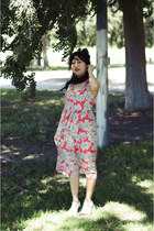 red floral print asos dress - white London Rebel sandals