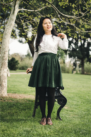 forest green skater H&M skirt - dark brown oxfords vintage shoes