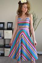 chevron stripes vintage etsy dress - rainbow colors vintage dress dress - dress