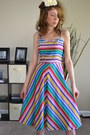 Chevron-stripes-vintage-etsy-dress-rainbow-colors-vintage-dress-dress-dress-