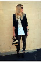 Jeffrey Campbell boots - thrifted blazer - Borrowed Vintage top - mayle pants -