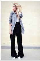heather gray thrifted vintage blazer - black Forever 21 pants - white American A