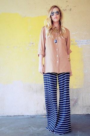 Saint Grace pants - button down thrifted blouse