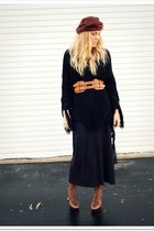 dark brown Jessica Simpson boots - black vintage dress - dark brown asoscom belt